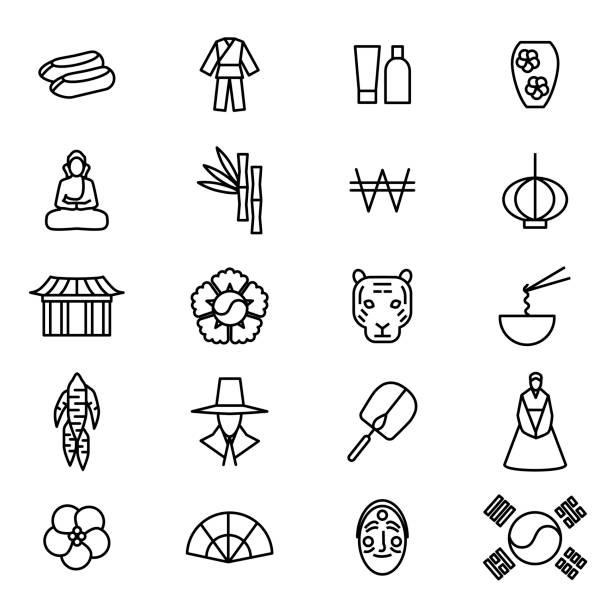 stockillustraties, clipart, cartoons en iconen met korea reizen en toerisme zwarte dunne lijn icon set. vector - zuid korea