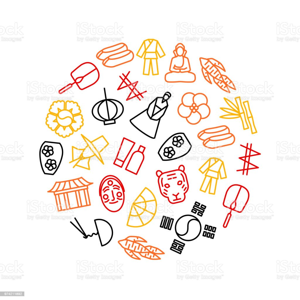 Korea Travel and Tourism Round Design Template. Vector vector art illustration