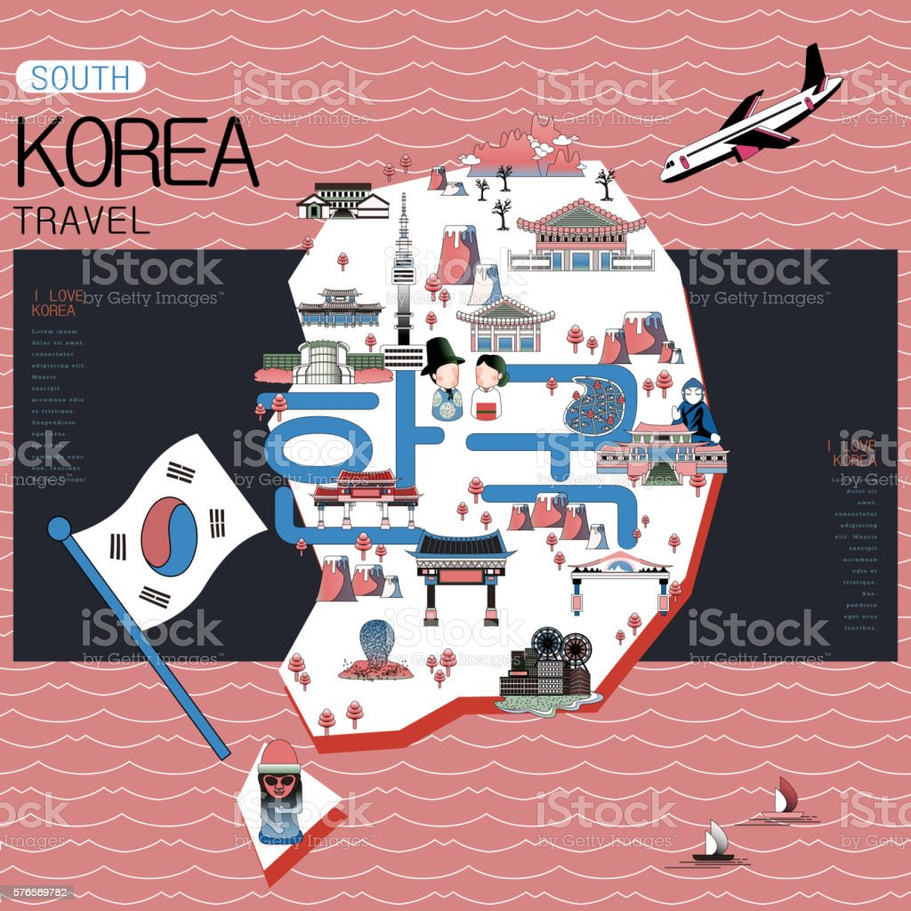 Korea travel map - Illustration vectorielle