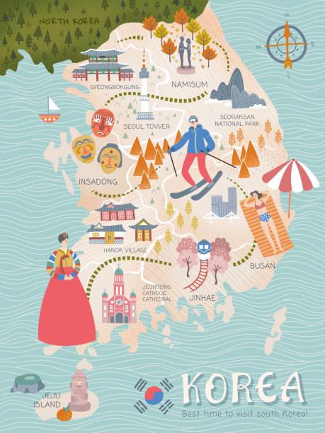 stockillustraties, clipart, cartoons en iconen met korea reizen kaart - zuid korea