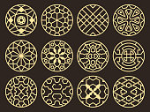 Korean and chinese traditional vector ancient buddhist patterns, ornaments and symbols