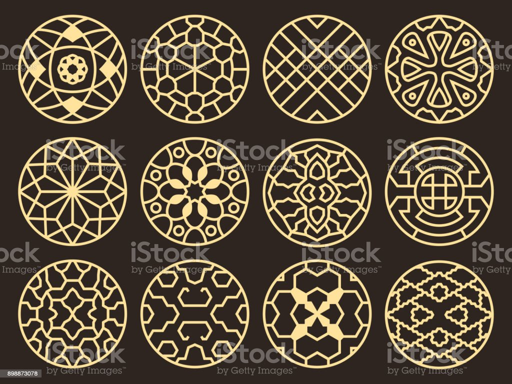 Korean and chinese traditional vector ancient buddhist patterns, ornaments and symbols vector art illustration