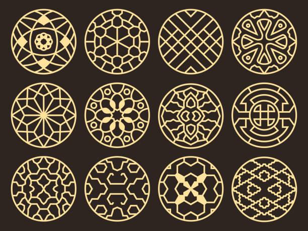 stockillustraties, clipart, cartoons en iconen met koreaanse en chinese traditionele vector oude boeddhistische patronen, ornamenten en symbolen - korea