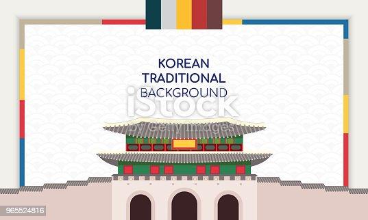 Korean Background vector illustration. Frame with Korean traditional building.