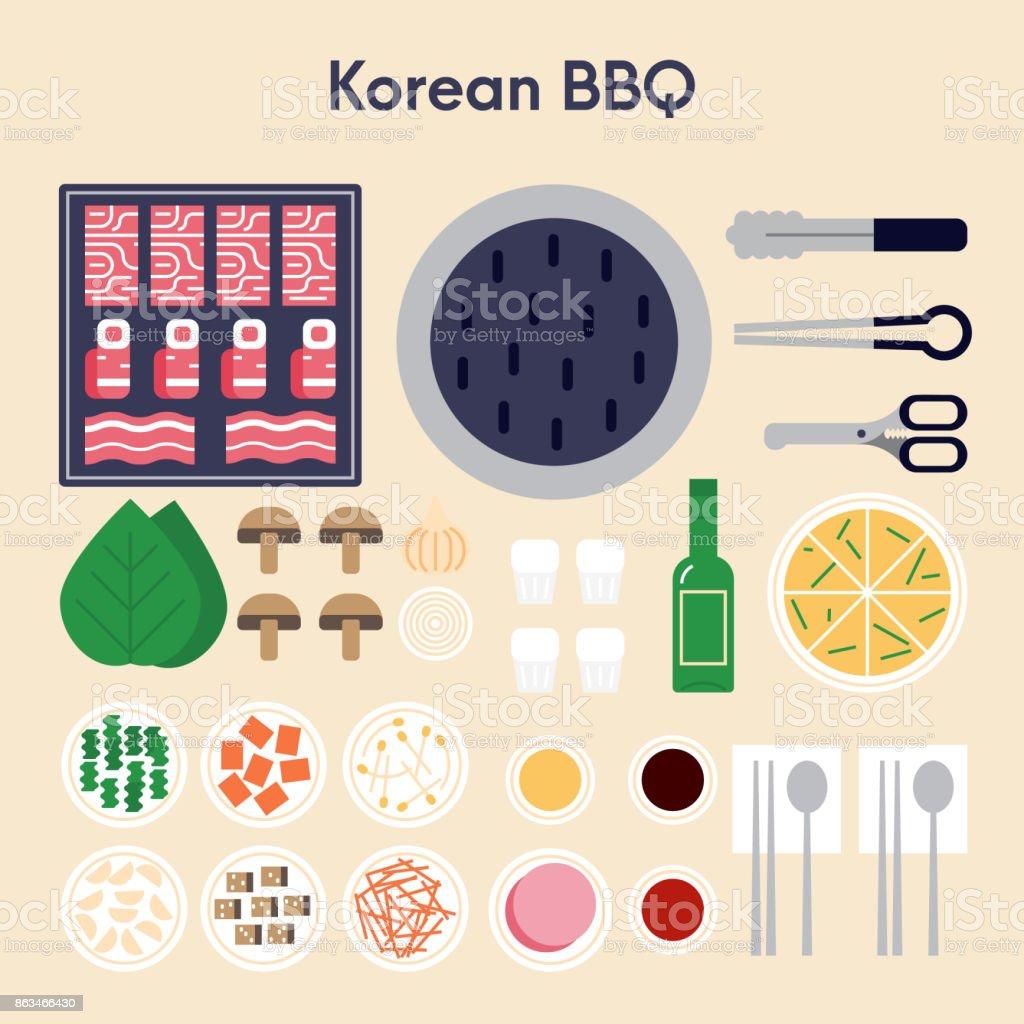 Korean BBQ vector illustration flat design. vector art illustration