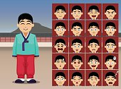 Korean Boy Cartoon Emotion faces Vector Illustration