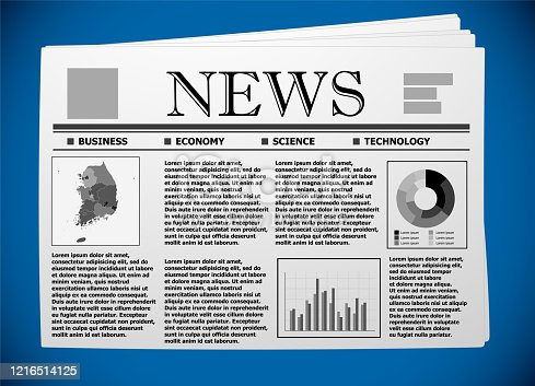Korean business and economy on newspaper.
