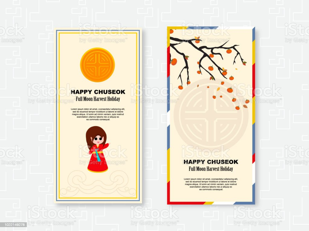 Korean Chuseok Thanksgiving Holiday Greeting Cards Set Vector