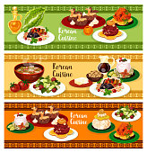 Korean cuisine restaurant banner set of dinner menu design. Rice with chicken and soy sauce, pork soup with kimchi and beef ribs stew, raw beef with egg, stuffed fish, cream cake and cucumber salad