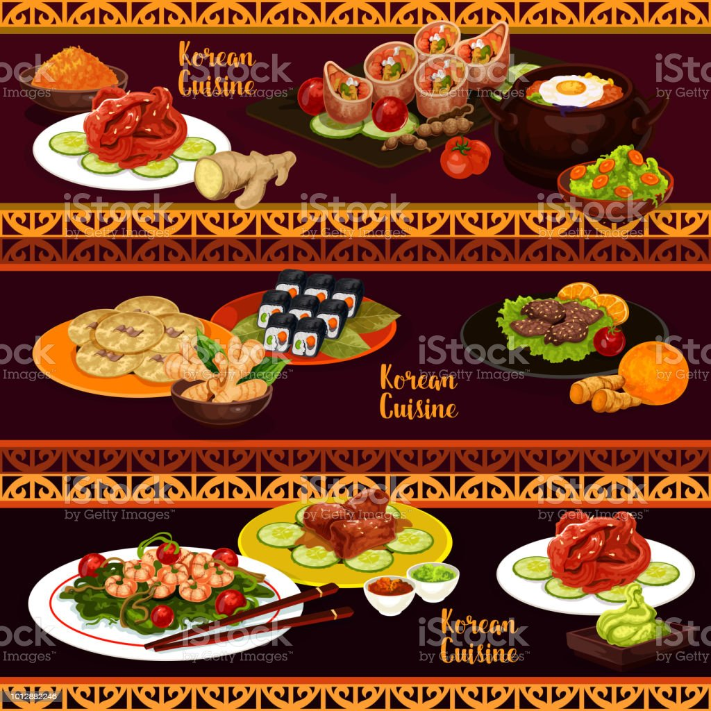 Korean cuisine banners with food and desserts vector art illustration