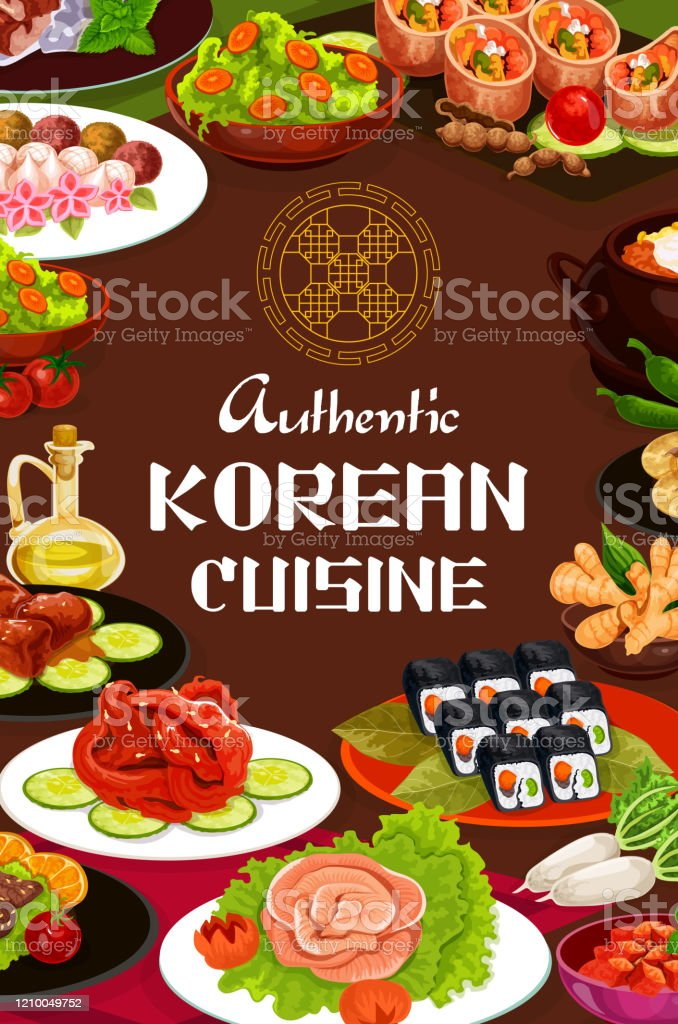 Korean Cuisine Food Dishes Cafe Menu Stock Illustration Download Image Now Istock
