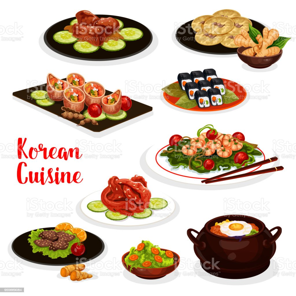 Korean cuisine icon with fish and meat dish vector art illustration