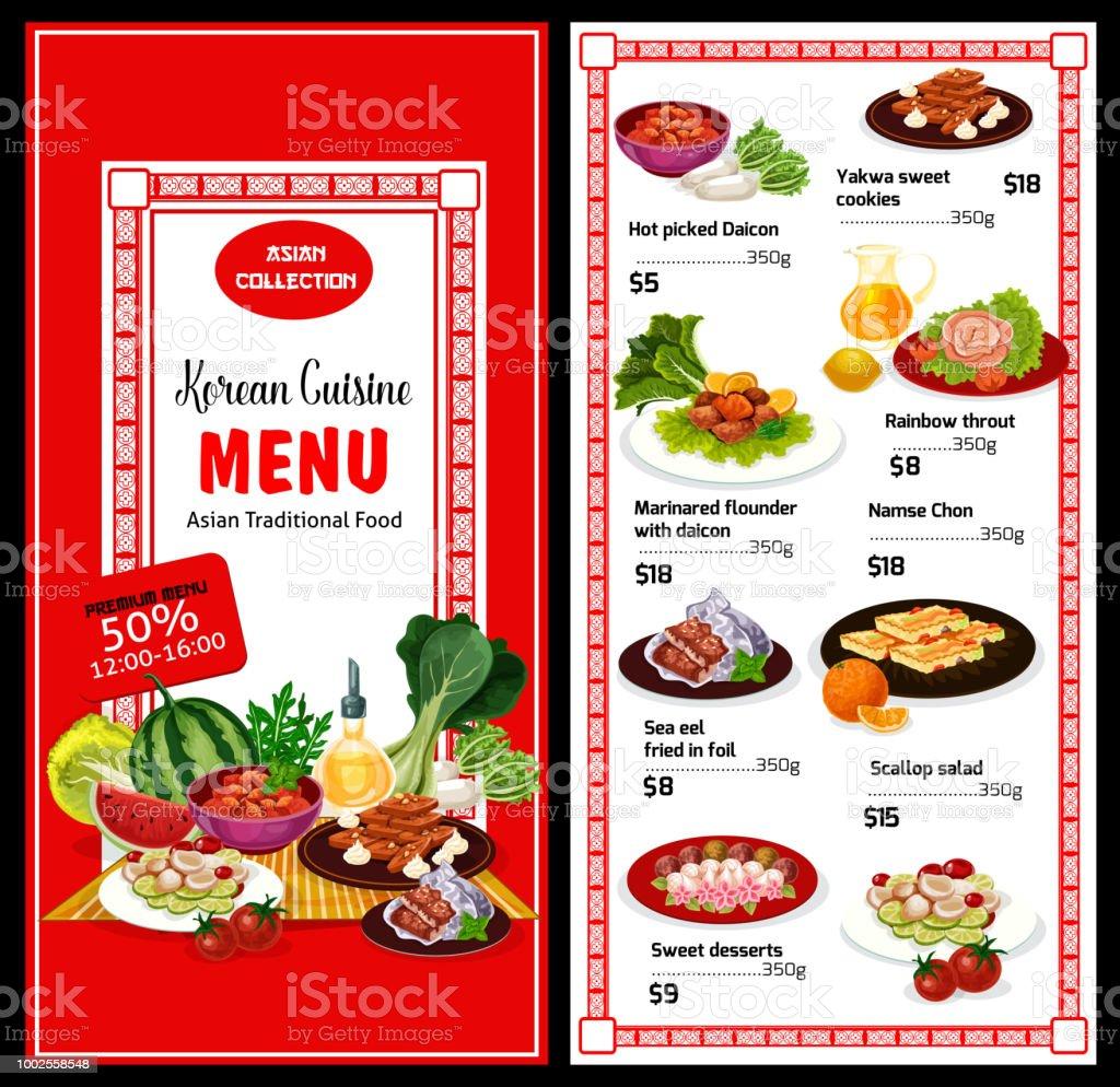 Koreanische Küche Speisekarte Und Preisen Asiatische Kücheplakat ...