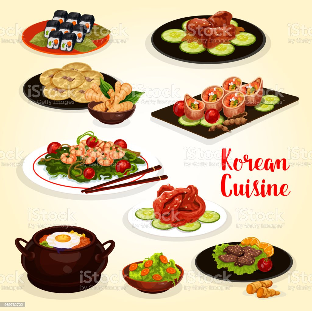 Korean cuisine menu icon of meat and seafood dish vector art illustration