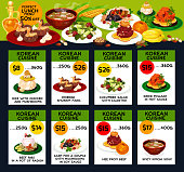 Korean cuisine restaurant menu card with asian lunch dish. Kimchi soup and rice, served with beef and fish, cucumber salad, ribs in radish pot and cream cake for discount offer promotion flyer design