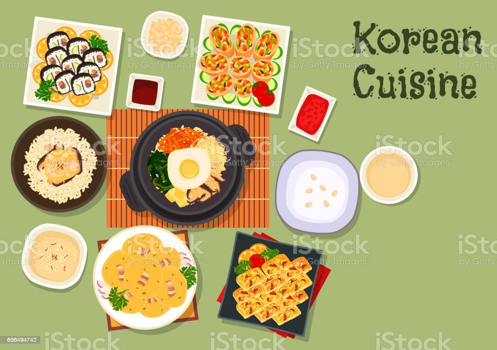 Korean cuisine traditional rice dishes icon vector art illustration