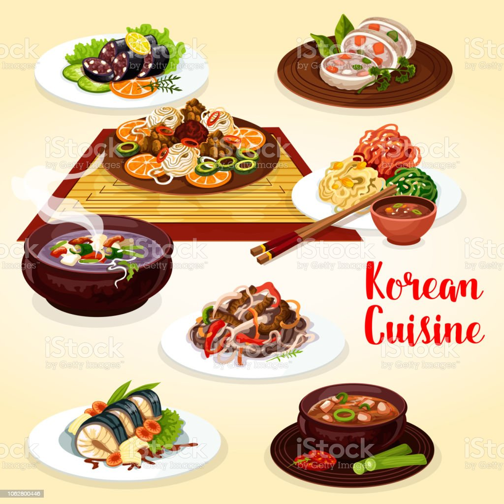 Korean cuisine veggies, meat and fish dishes vector art illustration