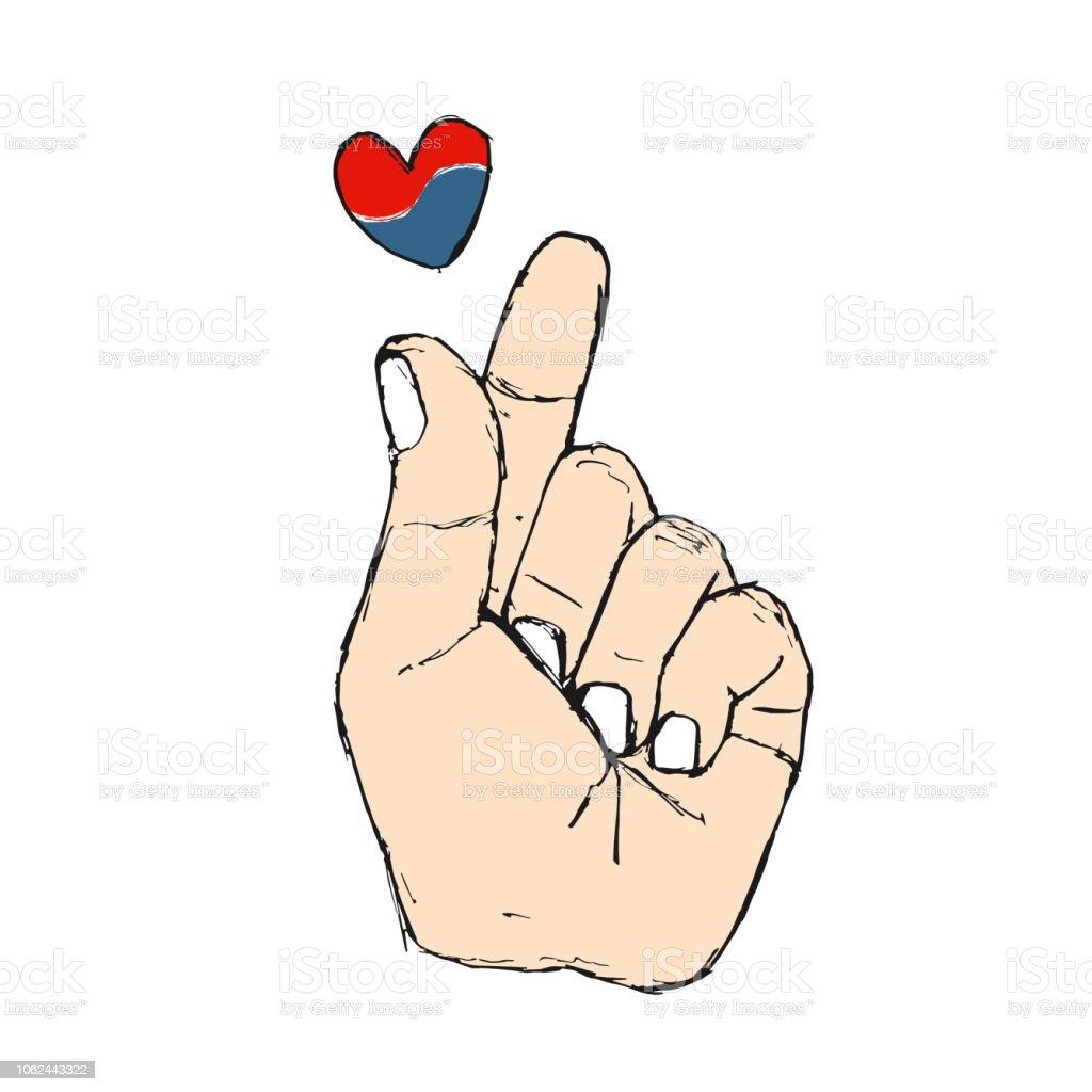 Koreanische Finger Symbol Ich Liebe Dich Handgezeichnete St