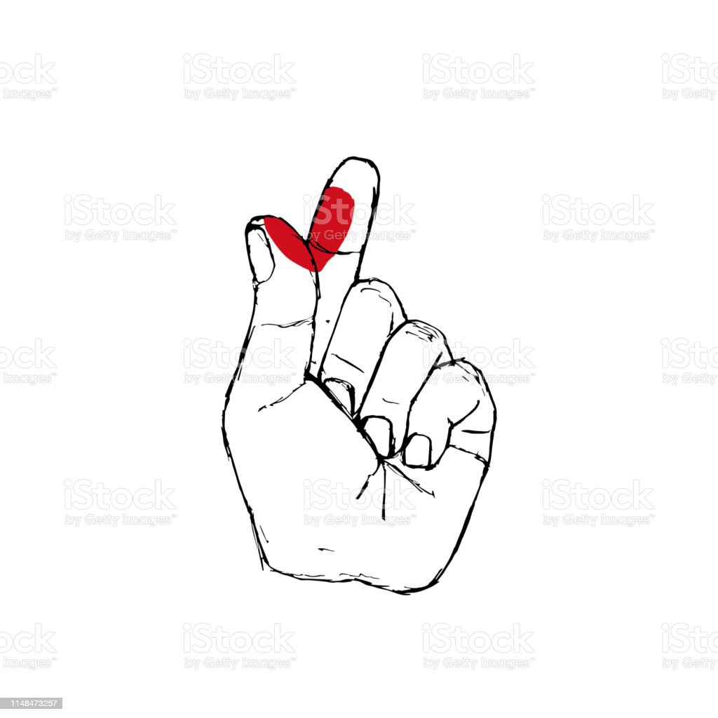 Korean Fingers Symbol I Love You Hand Drawn St Valentine Red Heart