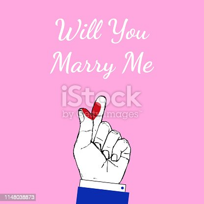 Korean fingers symbol - i love you on pink. Hand drawn St. Valentine red heart sign. Will you marry me - wedding lettering for design poster, card, invitation, banner, label. Vector illustration