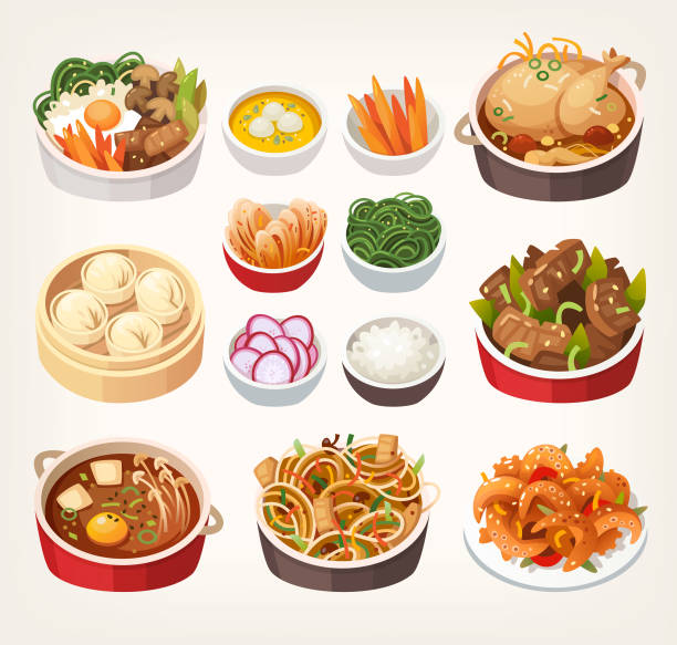 korean food dishes. - chinese food stock illustrations, clip art, cartoons, & icons