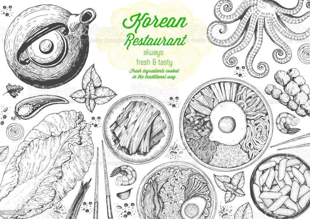Korean food menu restaurant. Korean food sketch menu. Asian food background. Asian food poster. Set of dishes: bibimbap, kimchi, tteok-bokki, ramen. Vector illustration vector art illustration