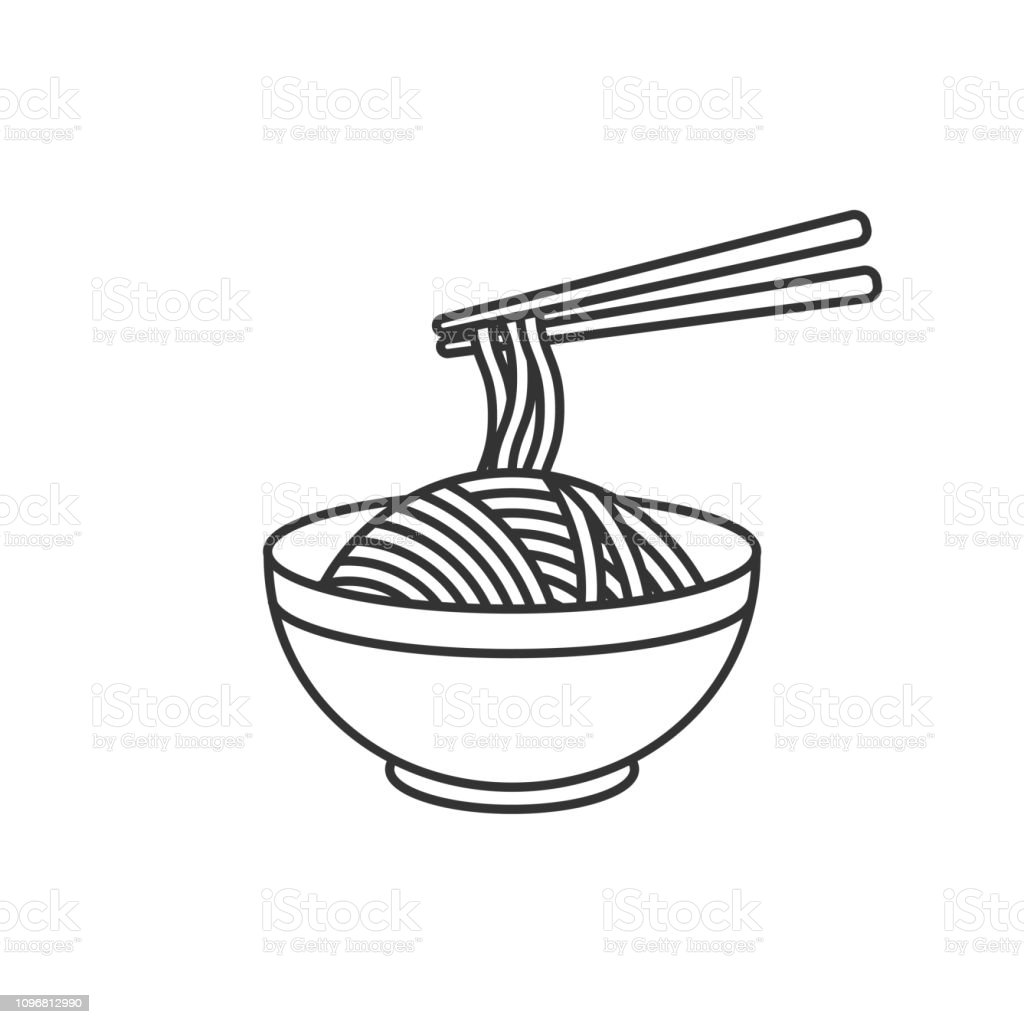 Korean, Japanese, Chinese food. Bowl with noodles. Vector illustration Korean, Japanese, Chinese food. Bowl with noodles. Vector illustration Asia stock vector
