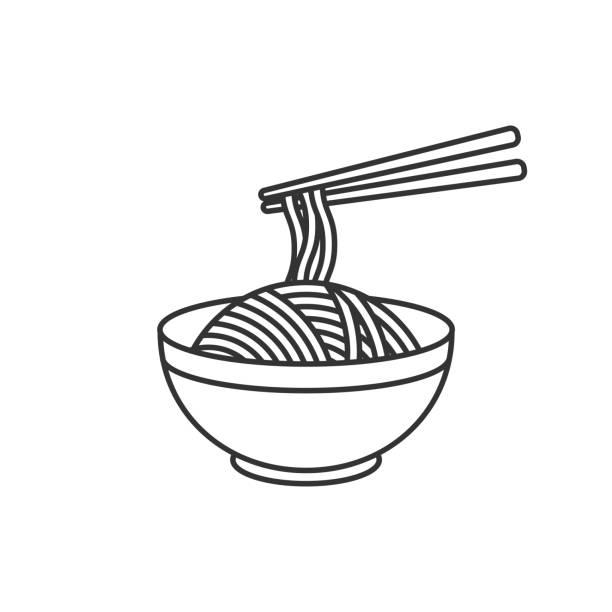 koreanisch, japanisch, chinesisch essen. schüssel mit nudeln. vektor-illustration - pasta stock-grafiken, -clipart, -cartoons und -symbole