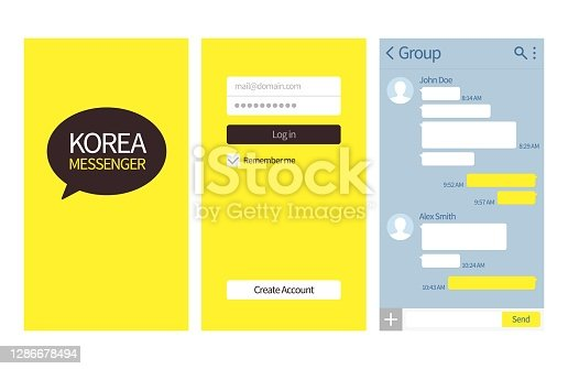 istock Korean messenger. Kakao talk interface with chat boxes, login and create account page vector template 1286678494