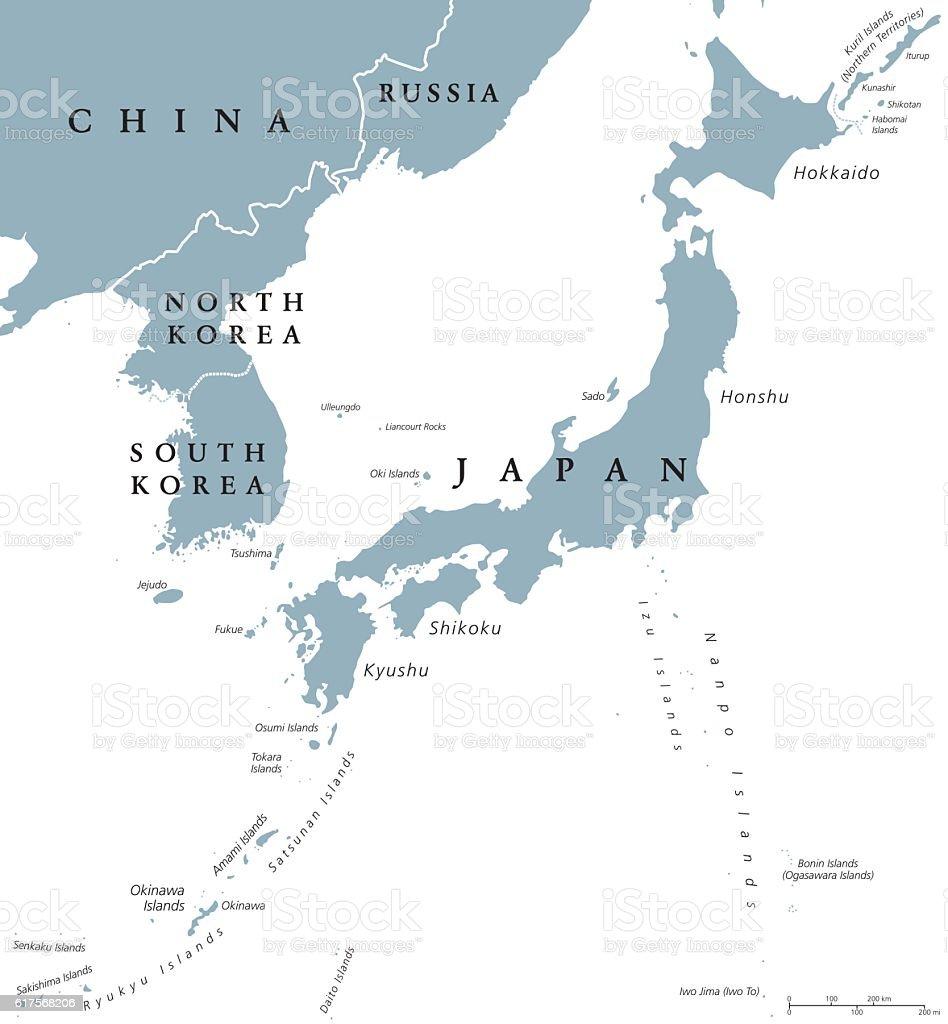 Korean peninsula and Japan countries political map vector art illustration