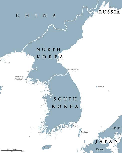 stockillustraties, clipart, cartoons en iconen met korean peninsula countries political map - zuid korea