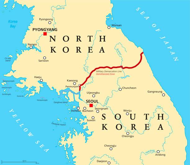 stockillustraties, clipart, cartoons en iconen met koreaanse schiereiland, de gedemilitariseerde zone, de politieke kaart - zuid korea
