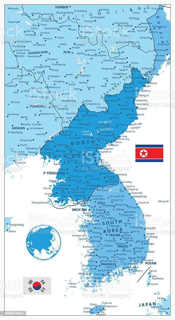 Map Of Asia 1950.Korean Peninsula Map In Colors Of Blue Stock Vector Art More