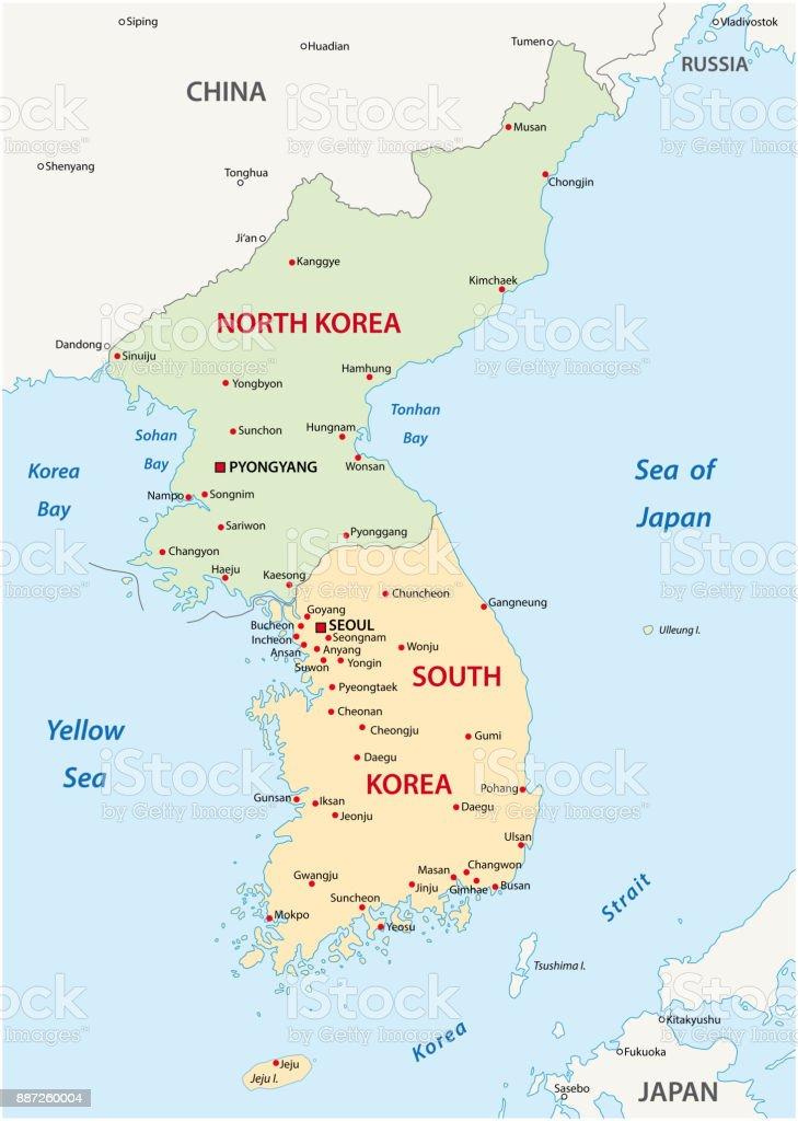 Korean Peninsula Map Stock Vector Art More Images of Asia
