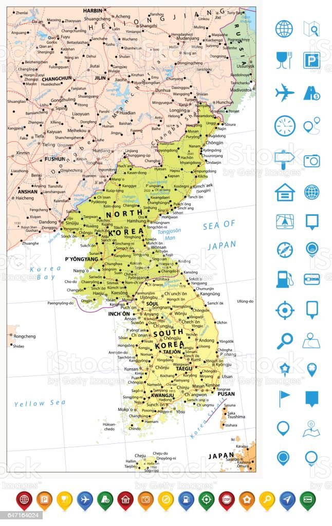 Korean Peninsula Political Map And Map Pointers Map Of North And