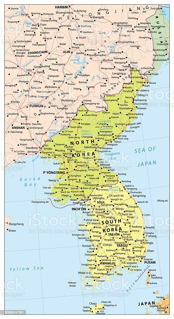 Korean Peninsula Political Map Map Of North And South Korea Stock
