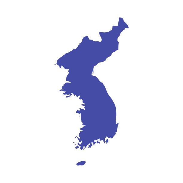 stockillustraties, clipart, cartoons en iconen met de kaart van de vector van het koreaans schiereiland. verenigd korea kaart contour. - korea