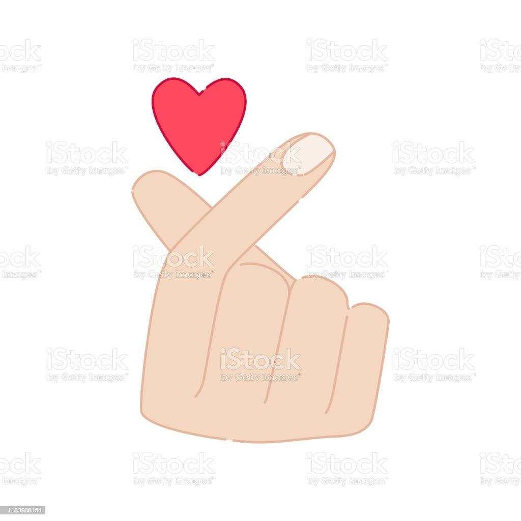 Korean Symbol Hand Finger Heart Isolated On White Background Stock Illustration Download Image Now Istock