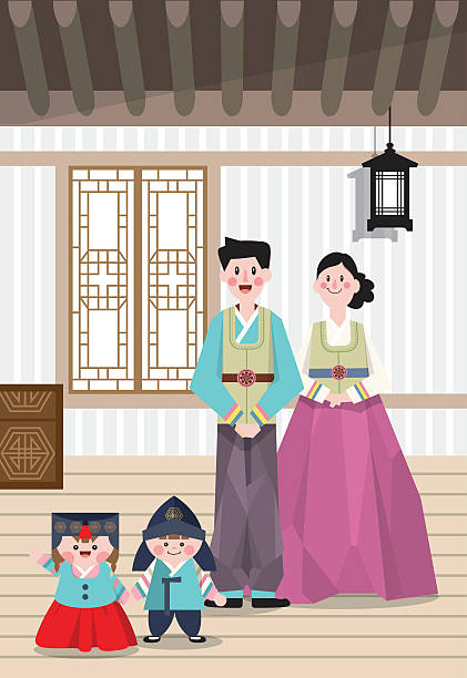 Best Korean Family Illustrations Royalty Free Vector Graphics