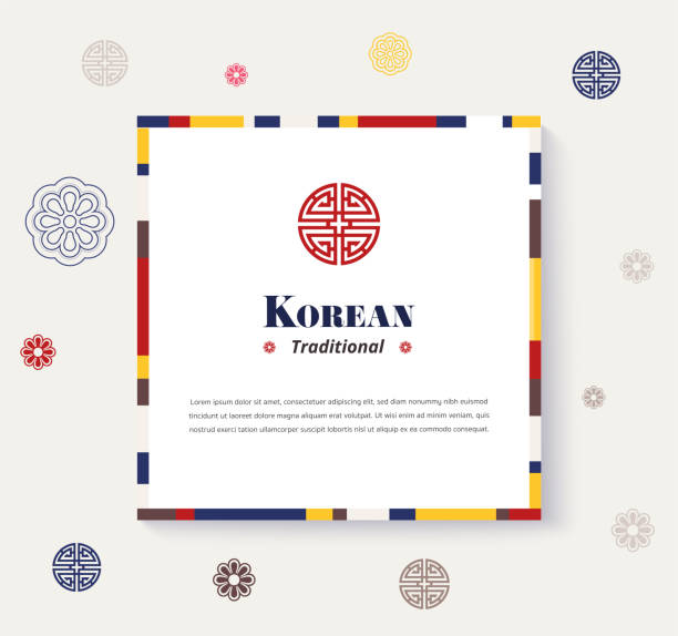 stockillustraties, clipart, cartoons en iconen met koreaanse traditionele frame ontwerp. strip kleur ontwerp frame. vectorillustratie. - korea