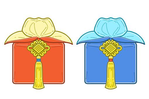 Korean traditional gift packaging. Traditional Korean gift bottari.