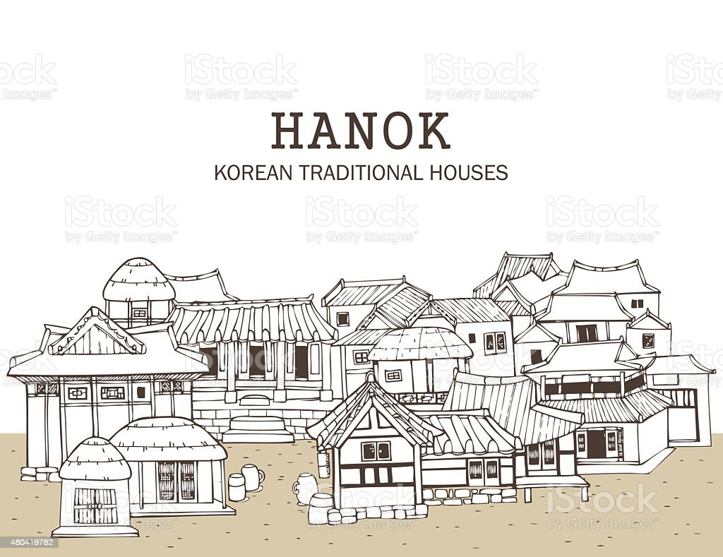 Korean traditional houses e stock vector art 480419782 istock - Traditional houses attic ...