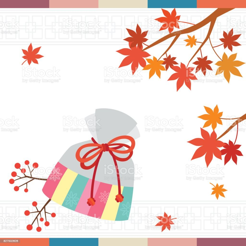 Korean traditional lucky bag with maple leaves background vector art illustration