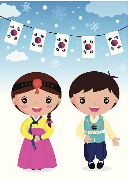 ilustrações, clipart, desenhos animados e ícones de coreano tradicional - bandeira da coreia