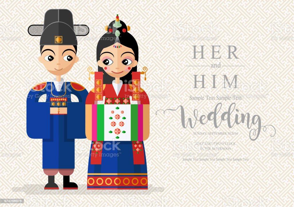 Korean wedding invitation card templates with bride and groom in korean wedding invitation card templates with bride and groom in korean traditional dress costume on paper stopboris Gallery
