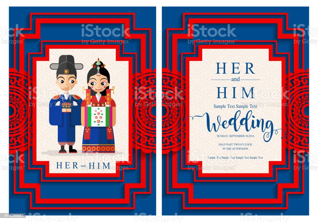 Korean Wedding Invitation Card Templates With Bride And Groom In