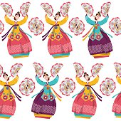 Korean women performing a traditional fan dance. Seamless background pattern.