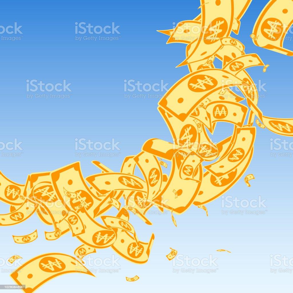 Korean Won Notes Falling Messy WON Bills On Blue Sky Background Korea Money