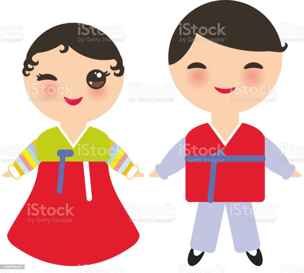 韓国人のかわいい男の子と女の子に国立韓朝鮮 ot の衣装します伝統的な
