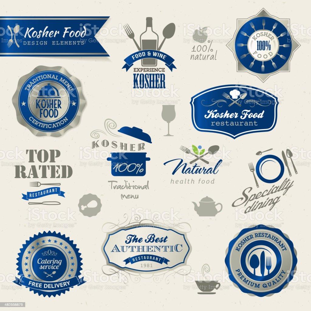 Kosher food labels and elements vector art illustration